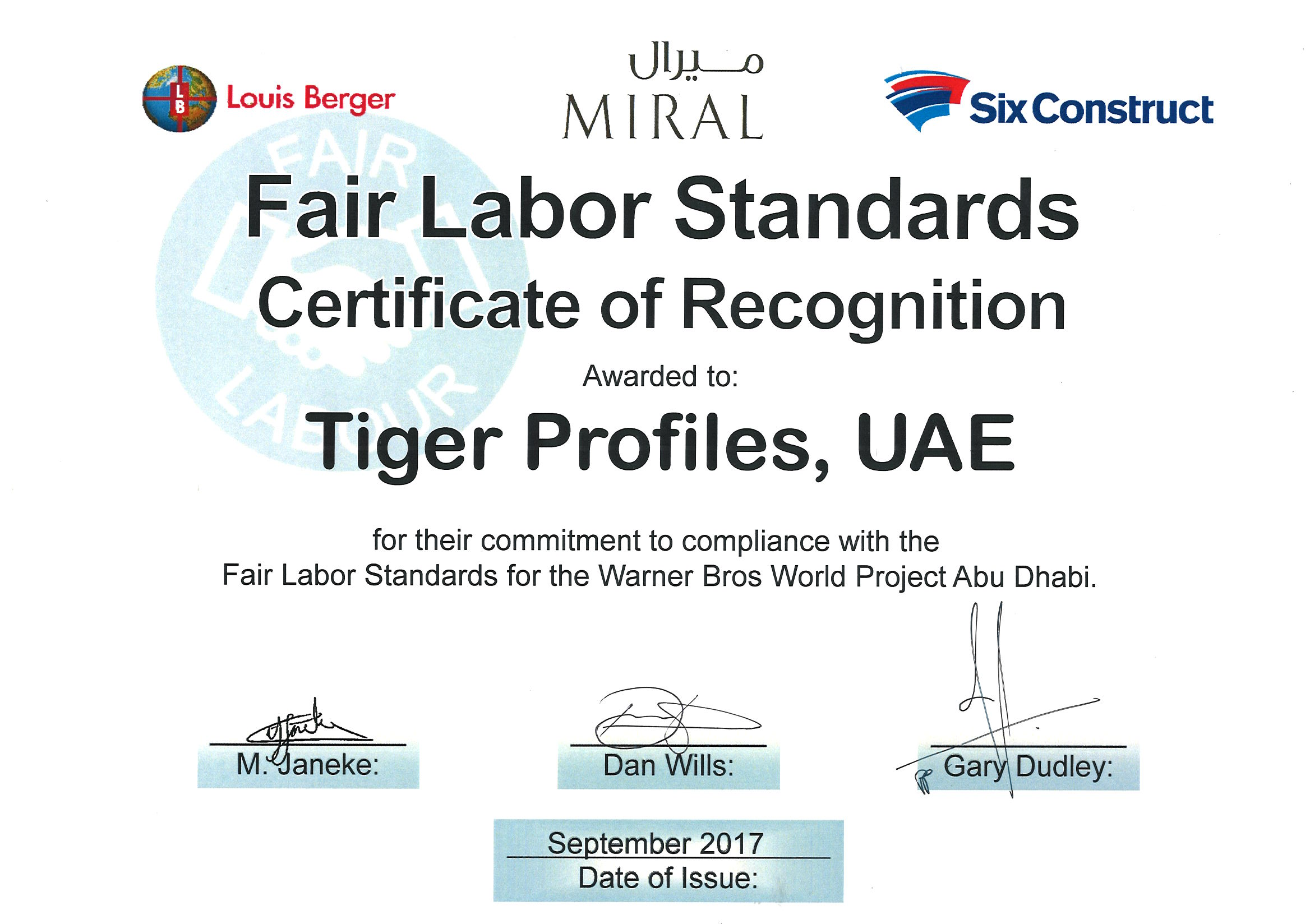 Fair Labor Standards Compliance Certificate